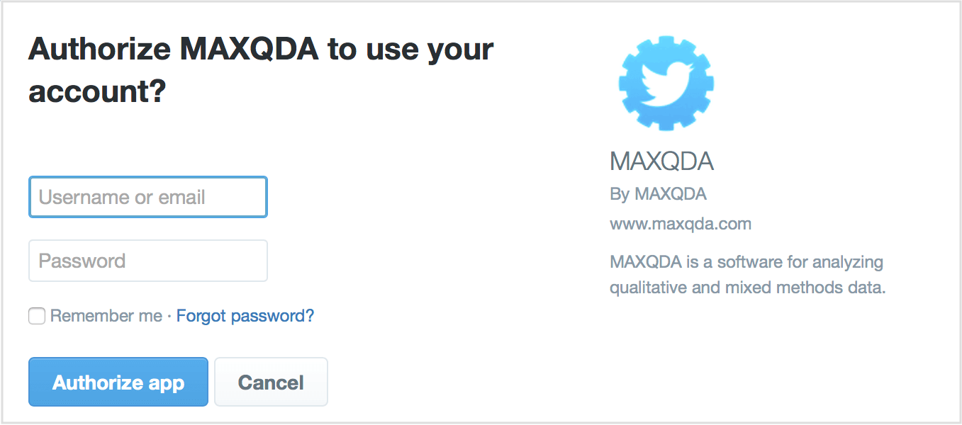 Authorize MAXQDA for Twitter
