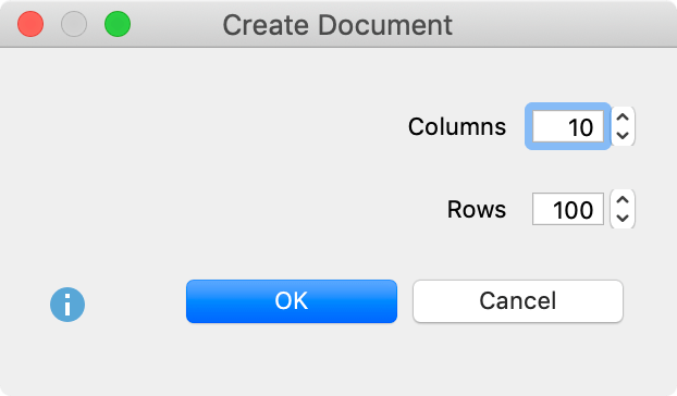 Select the number of columns and rows when you create a new table