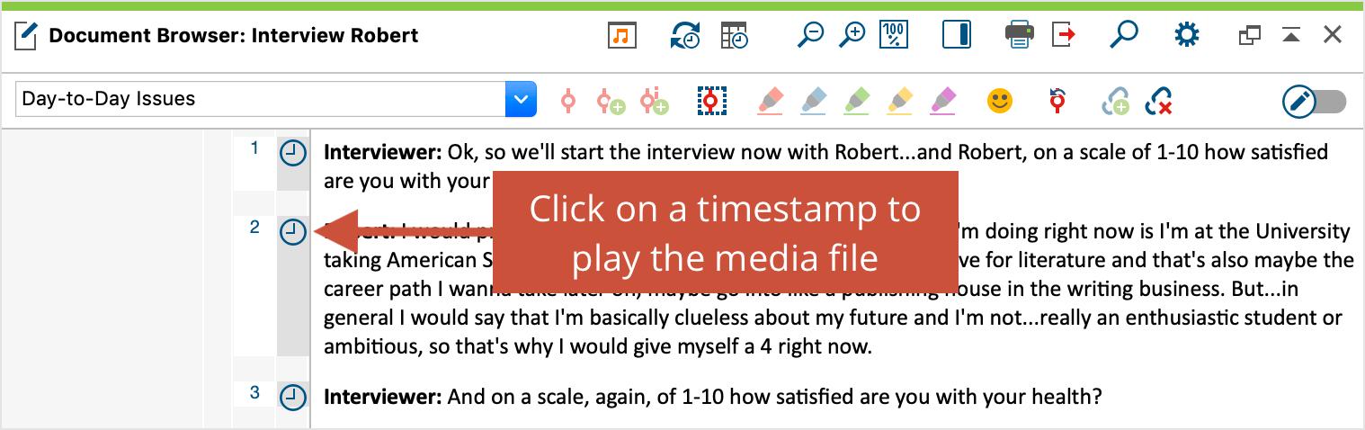 Timestamp display in MAXQDA