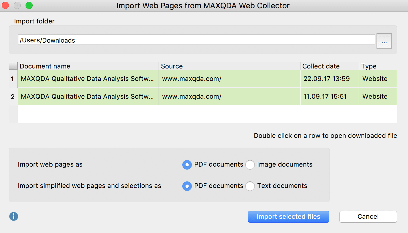 Dialog window for the import of documents that have been saved with the Web Collector