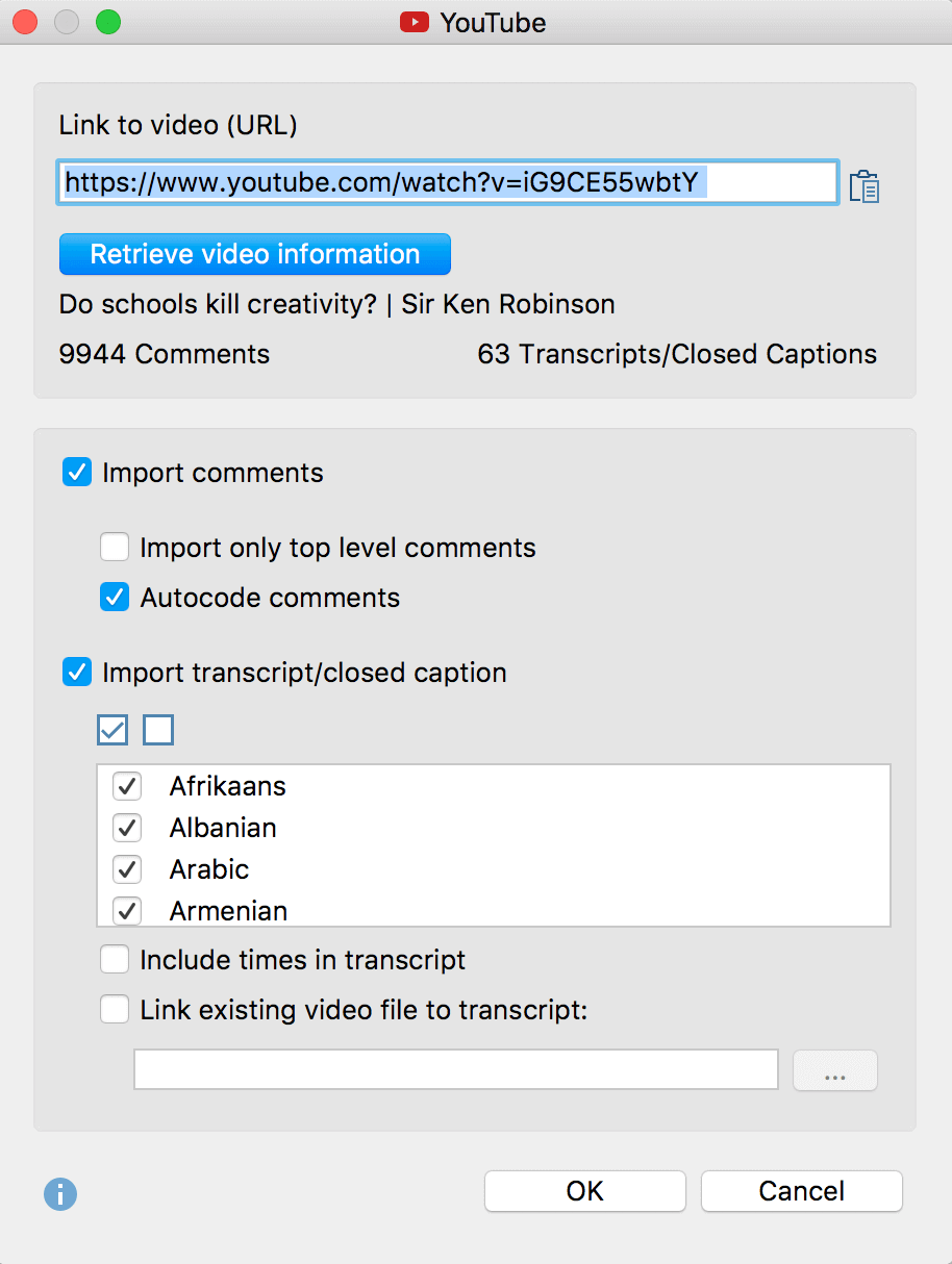 Dialog box for importing YoutTube data