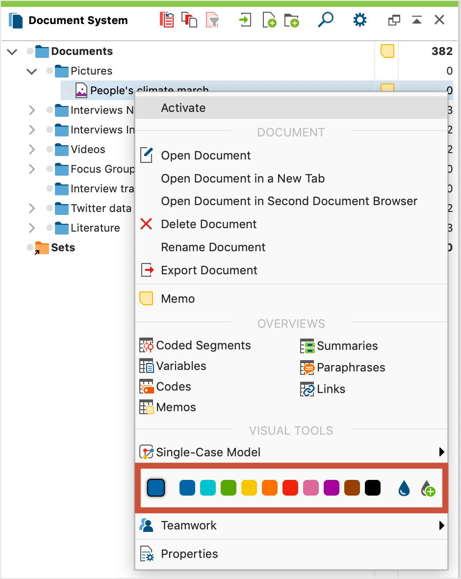 Choose a color in the context menu