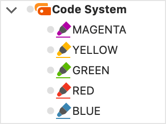 "Symbol for a color code in the ""Code System"""