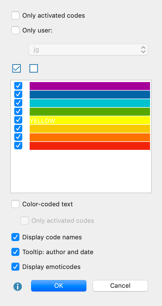 Option menu for the visualization of coding stripes