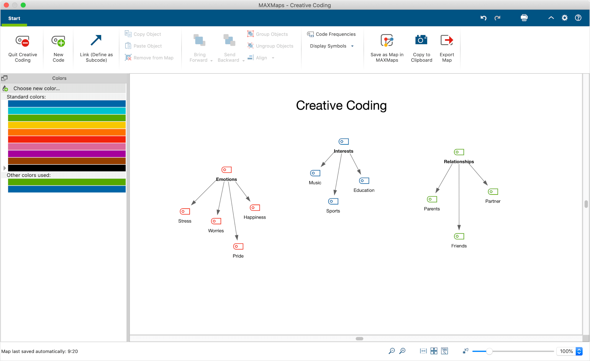Organizing Codes on the MAXMaps workaspace