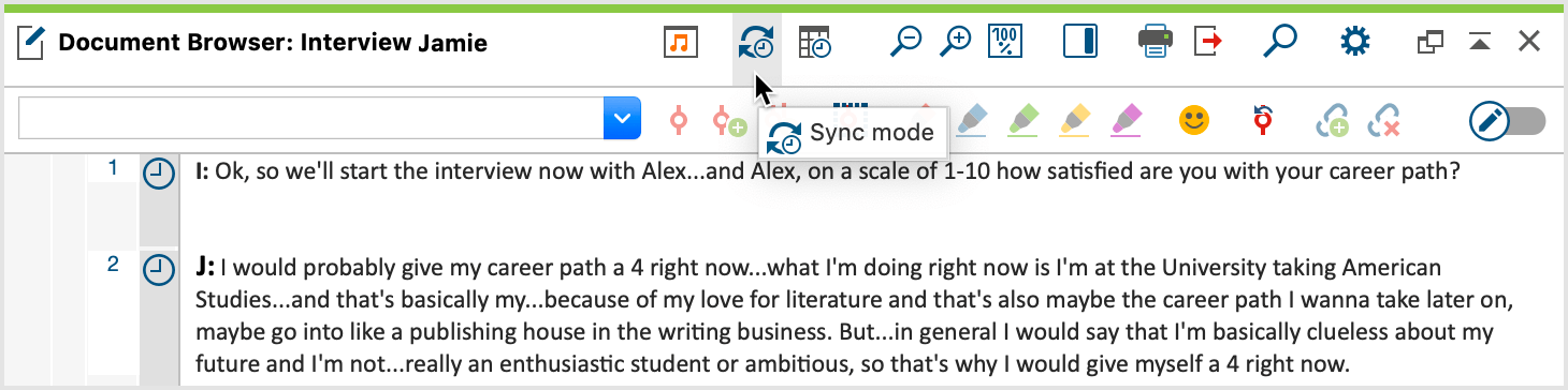 "Open Sync Mode in the ""Document Browser"""