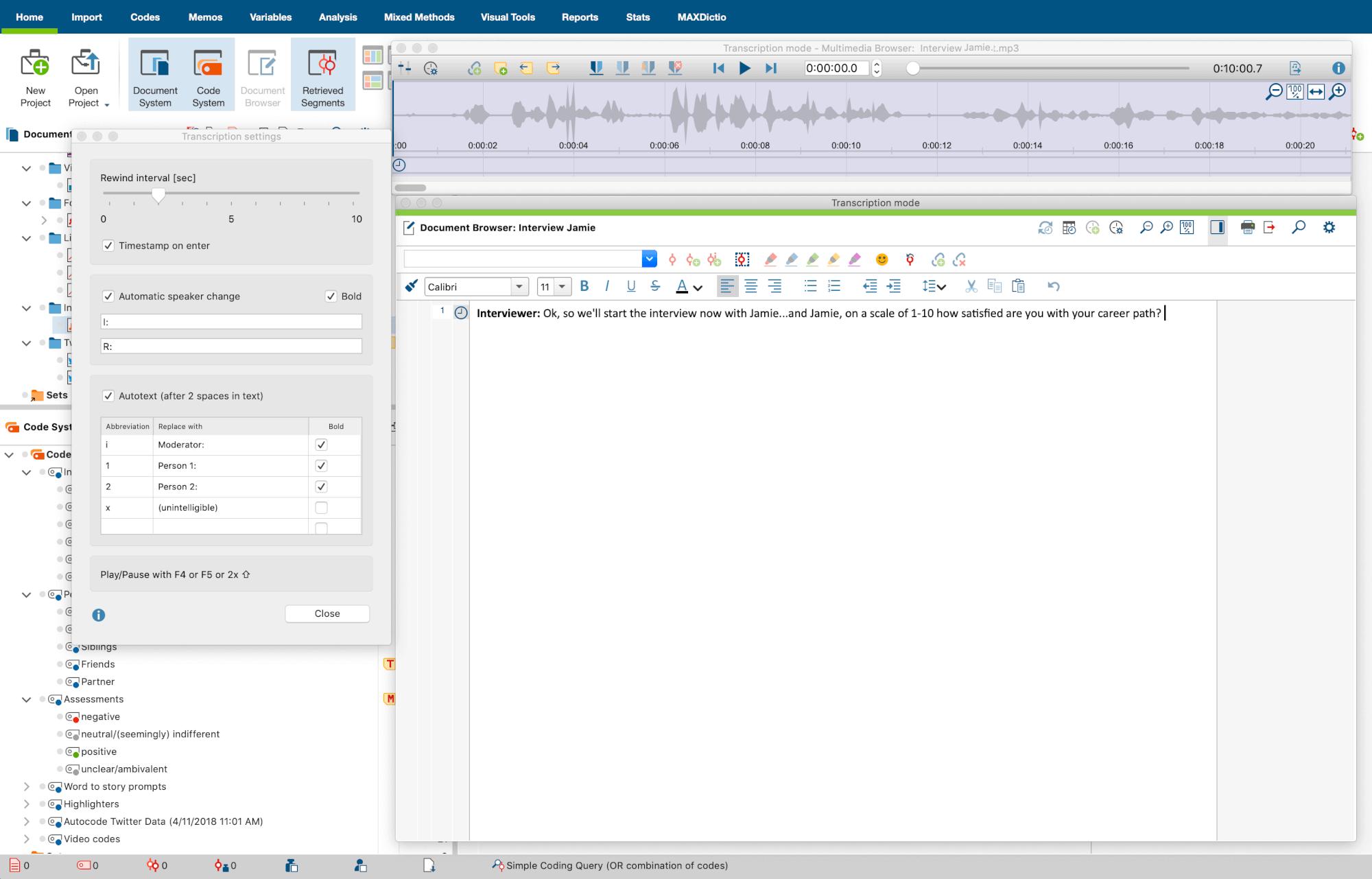 Transcription Mode