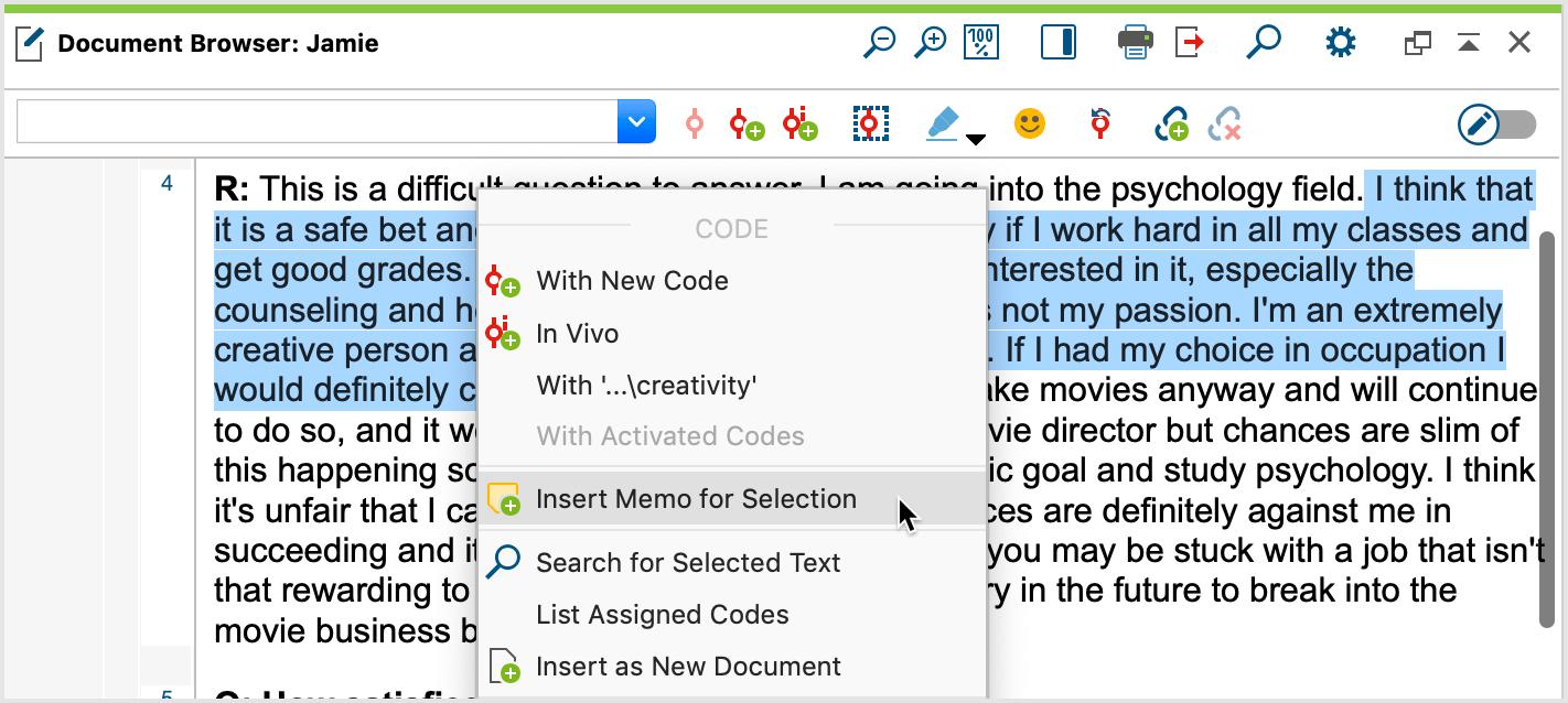 Insert memo for selected text segment