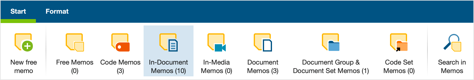 Only In-document memos are displayed in the Memo Manager