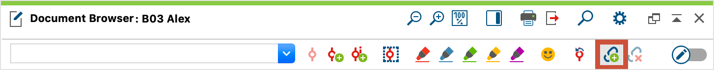 Toolbar button for creating an internal link