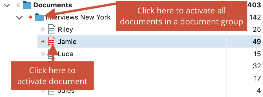 Activate documents by clicking on the symbol with the mouse
