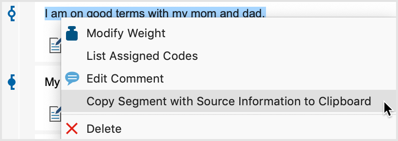 Getting a segment's source information from the context menu
