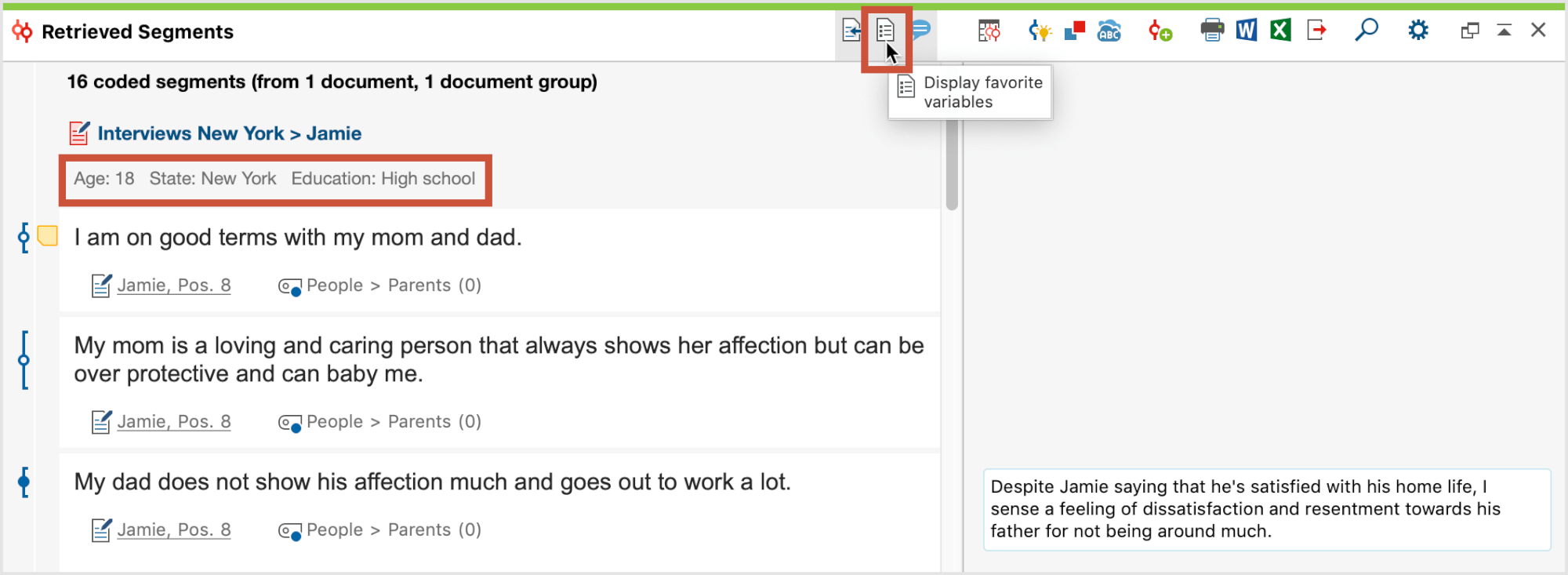 Show variable information in the Retrieved Segments window