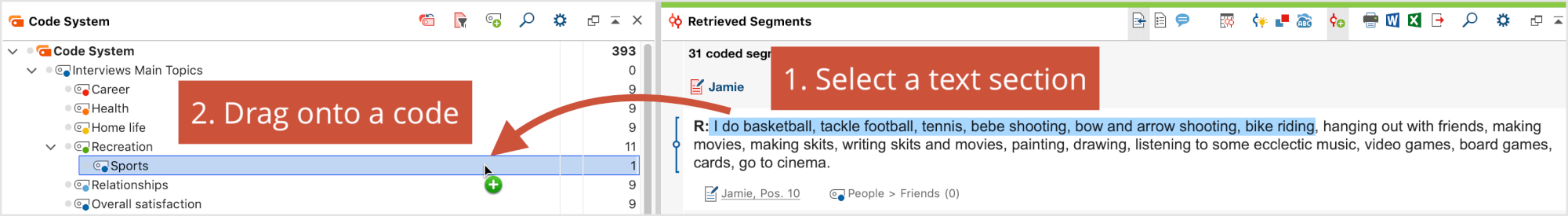 Coding text passages direcly in the Retrieved Segments window