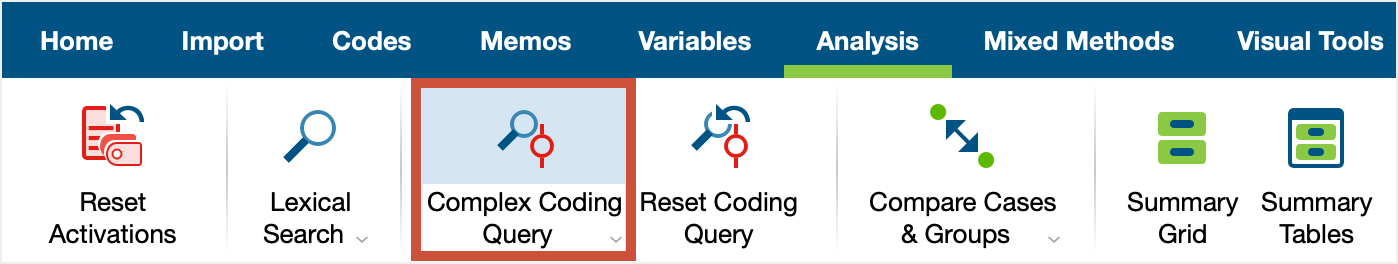 Access to the Complex Coding Query in the Analysis tab