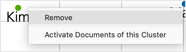 Context menu for a document displayed on a Document Map