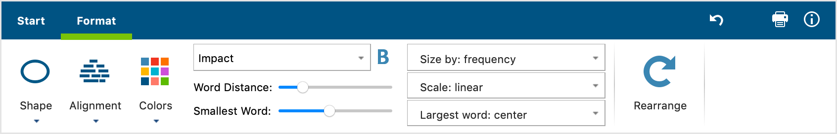 Functions in the Format tab