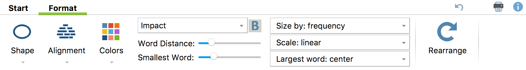 Functions in the Display tab