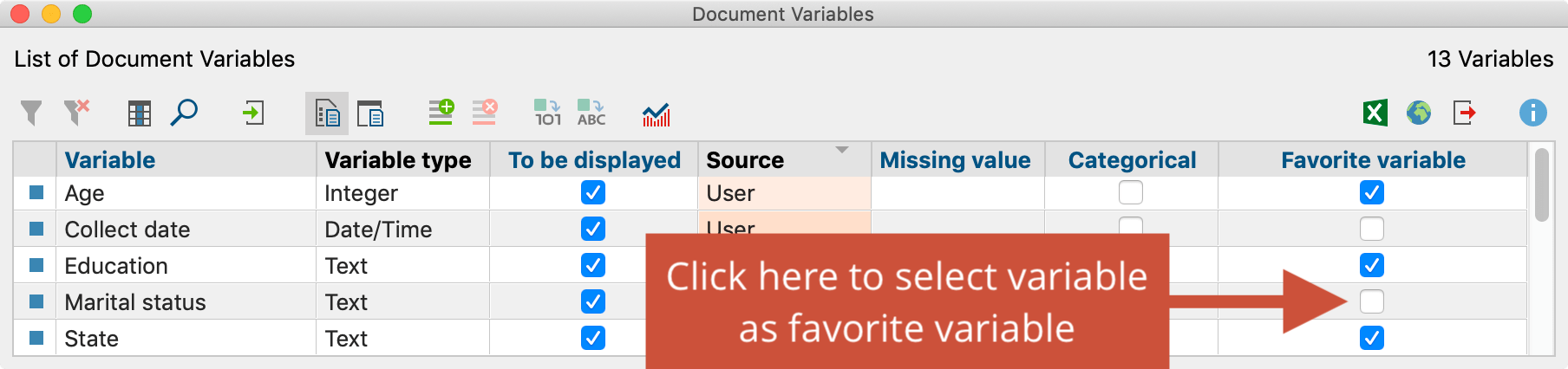 Select document variable as favorite variable