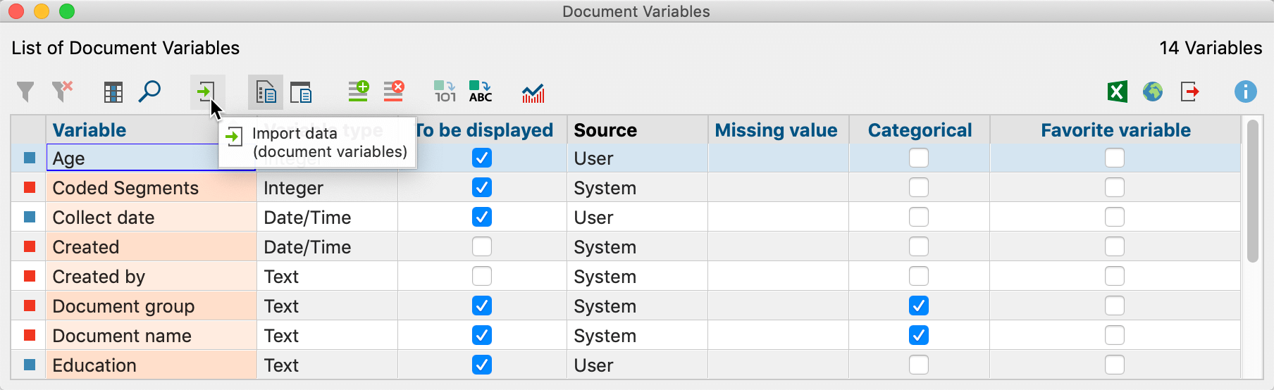 Icon for importing document variables