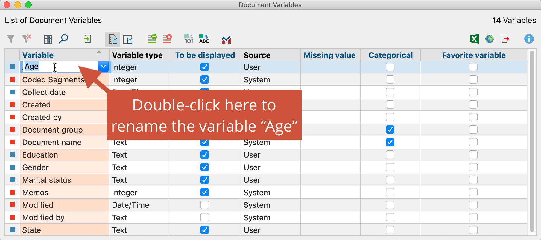 "Renaming a variable in ""List of document variables"""