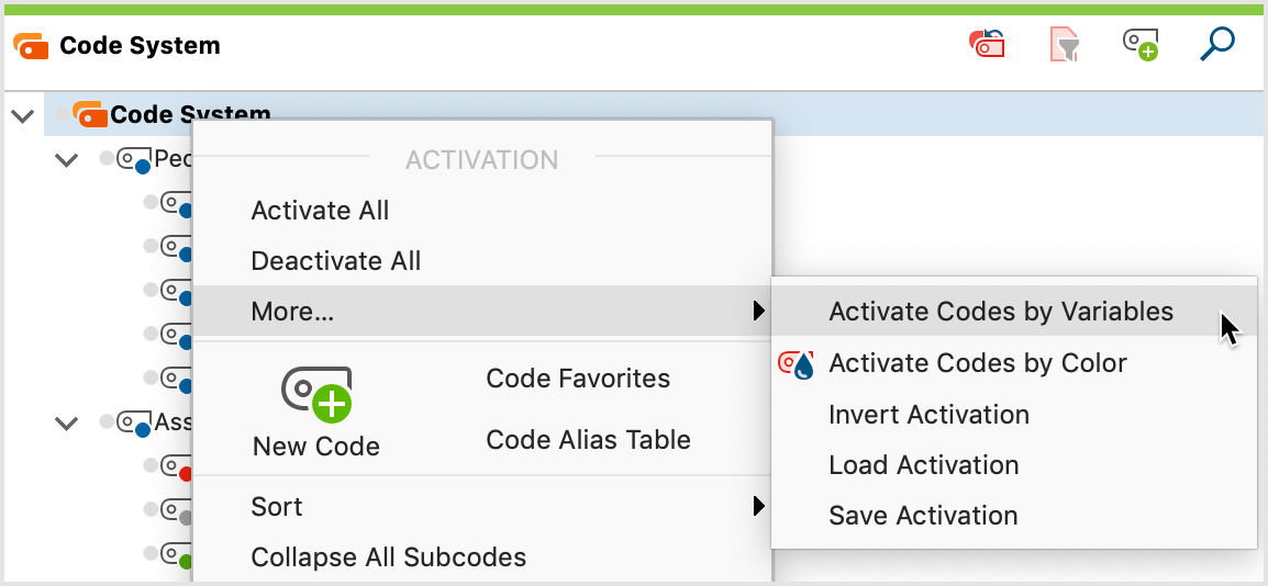 "Activate by Code Variables function in the ""Code System"" context menu"