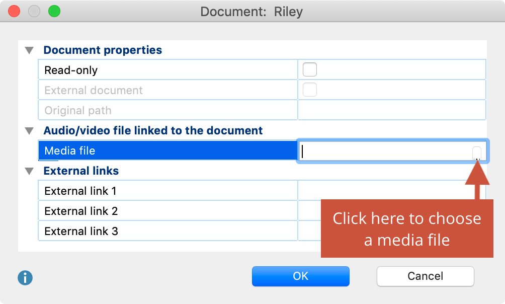 Assigning an audio/video file to a document