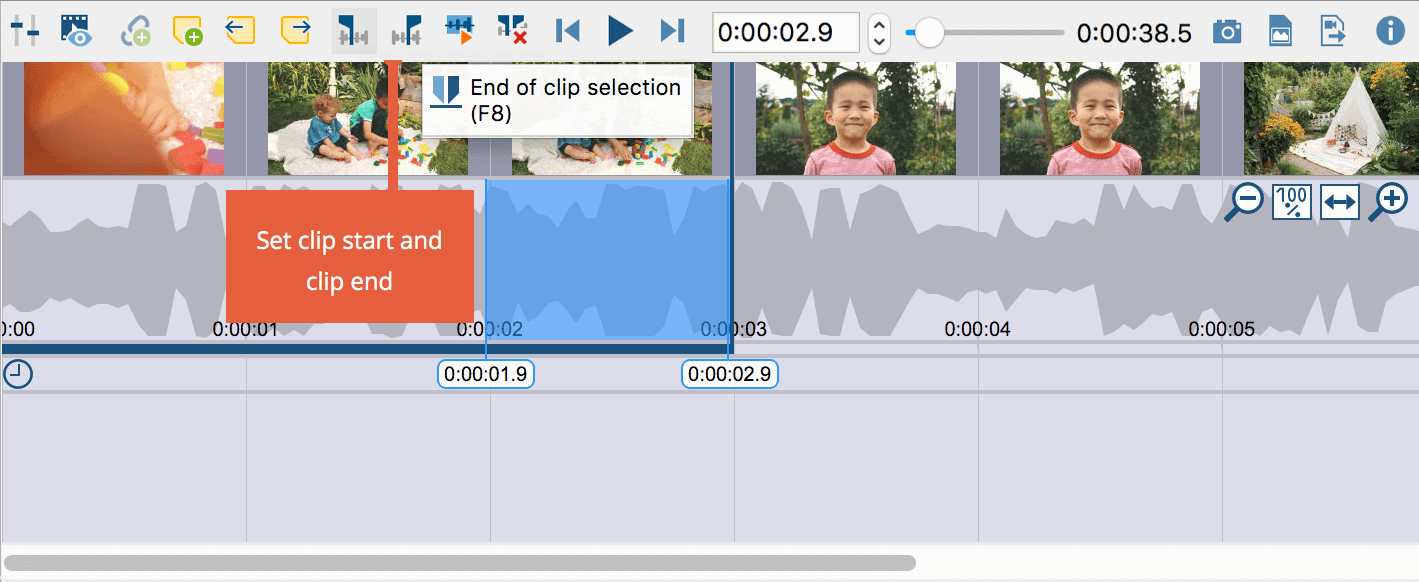 Setting the clip limits at the current playback position
