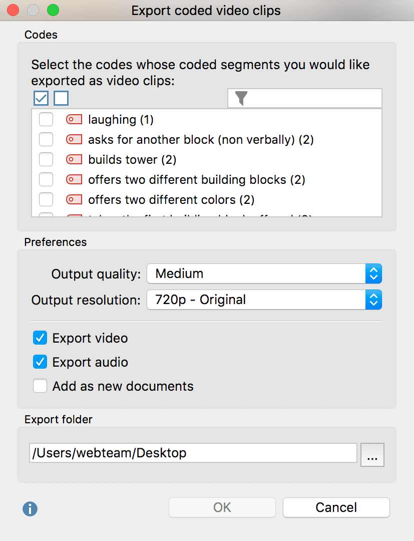 Dialog window for exporting coded video clips