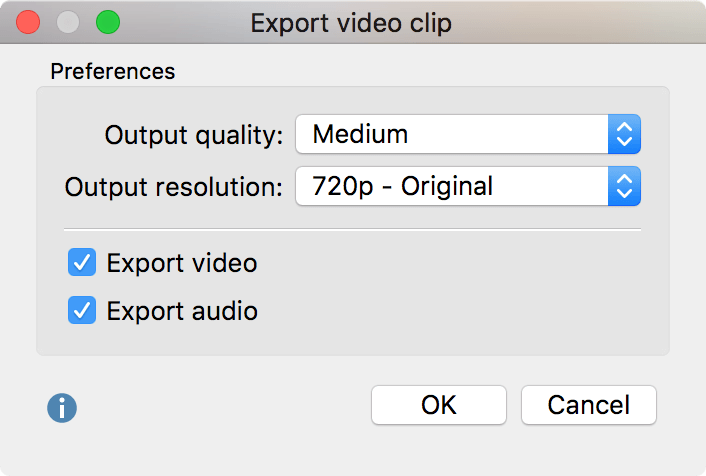 Options for exporting video clips