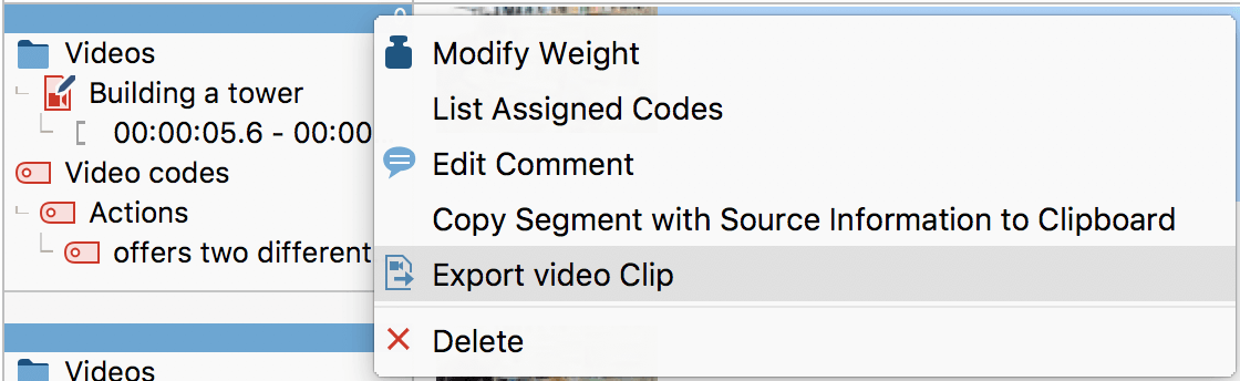 "Exporting a video clip from the ""Retrieved Segments"" window"