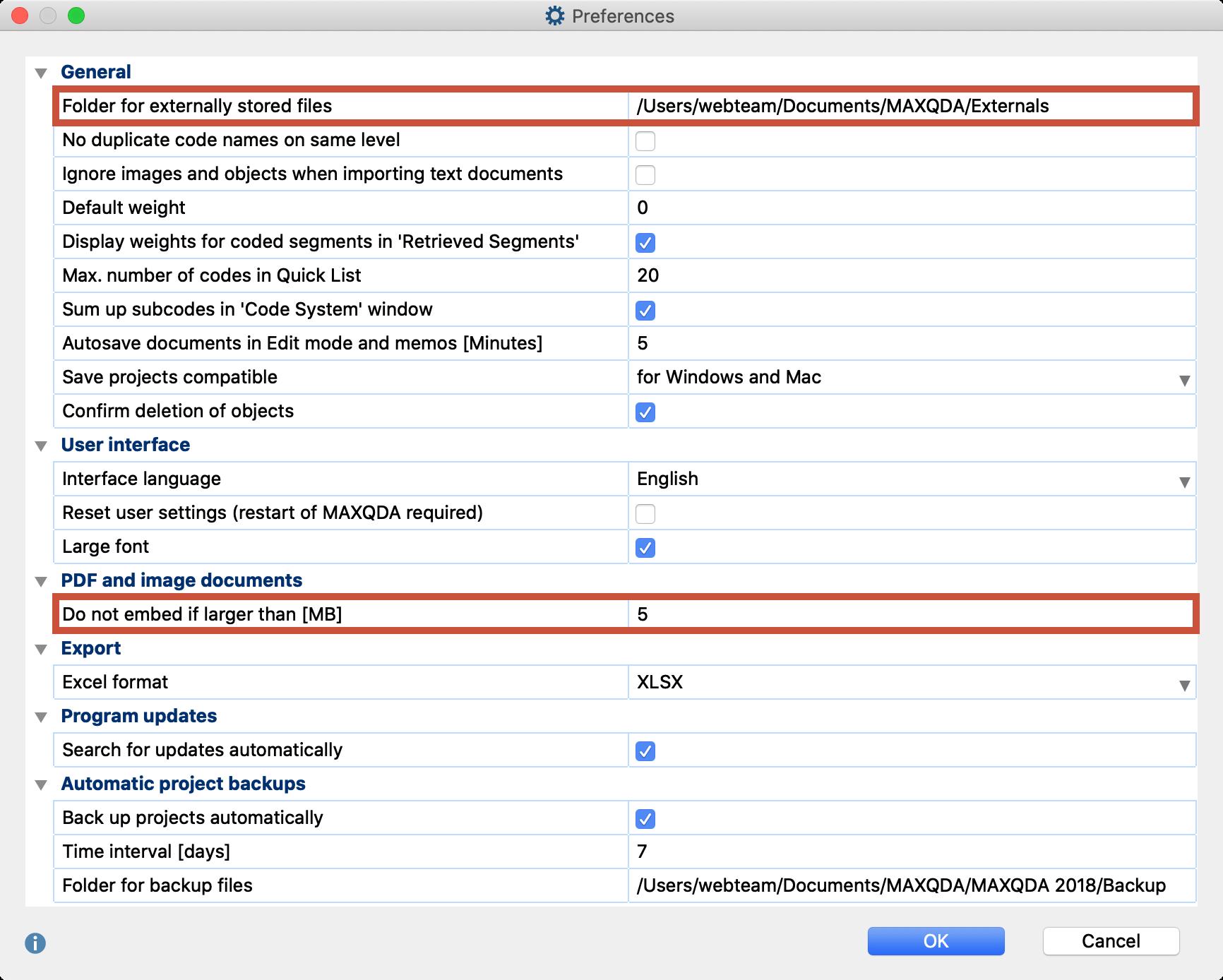 Edit settings for saved files