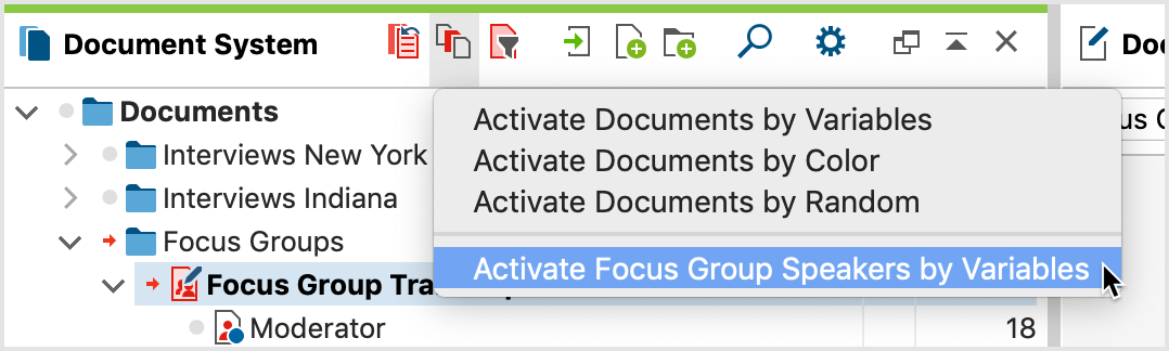 Activate Focus Group Speakers by Variables