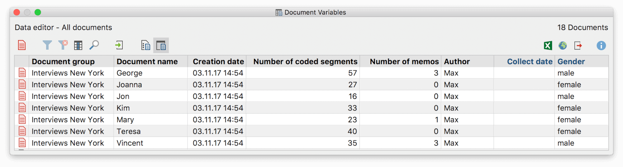 Table view of an example project's document variables