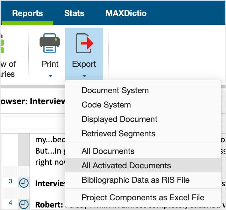 "Export options in the ""Reports"" menu"