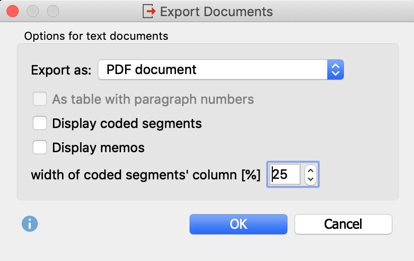 Transcrip export options