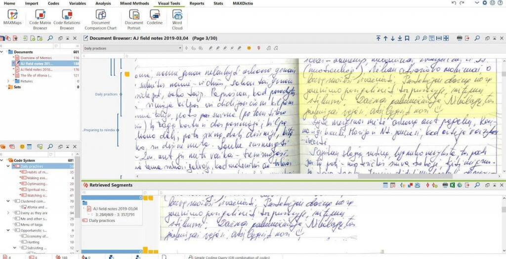 Importing and coding scanned field notes, which saved time and effectively improved further analysis