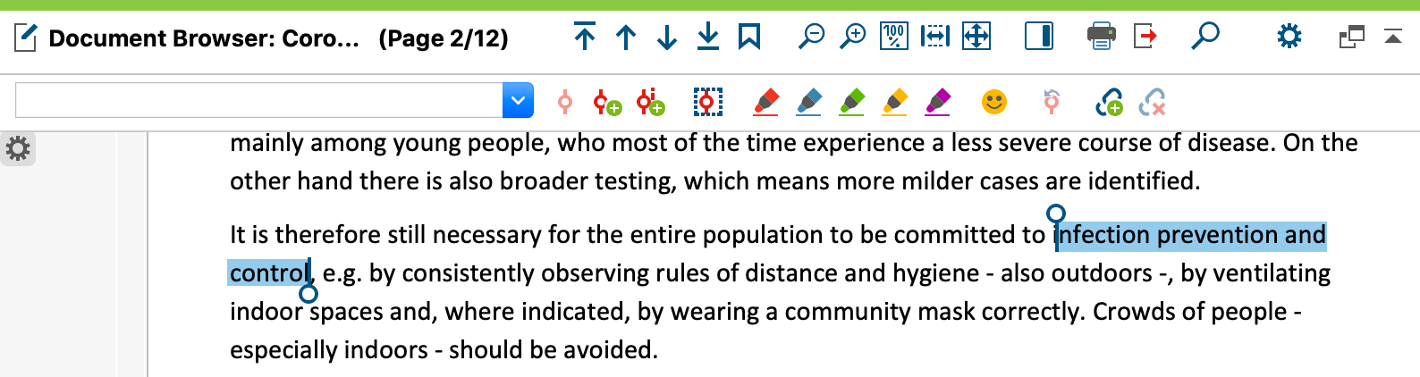 Screenshot from MAXQDA2020 showing a highlighted text passage.