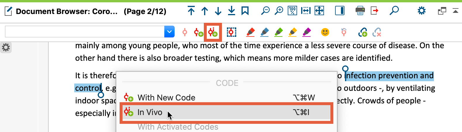 Screenshot from MAXQDA2020 showing a highlighted text passage and the option to in-vivo code the selected passage.