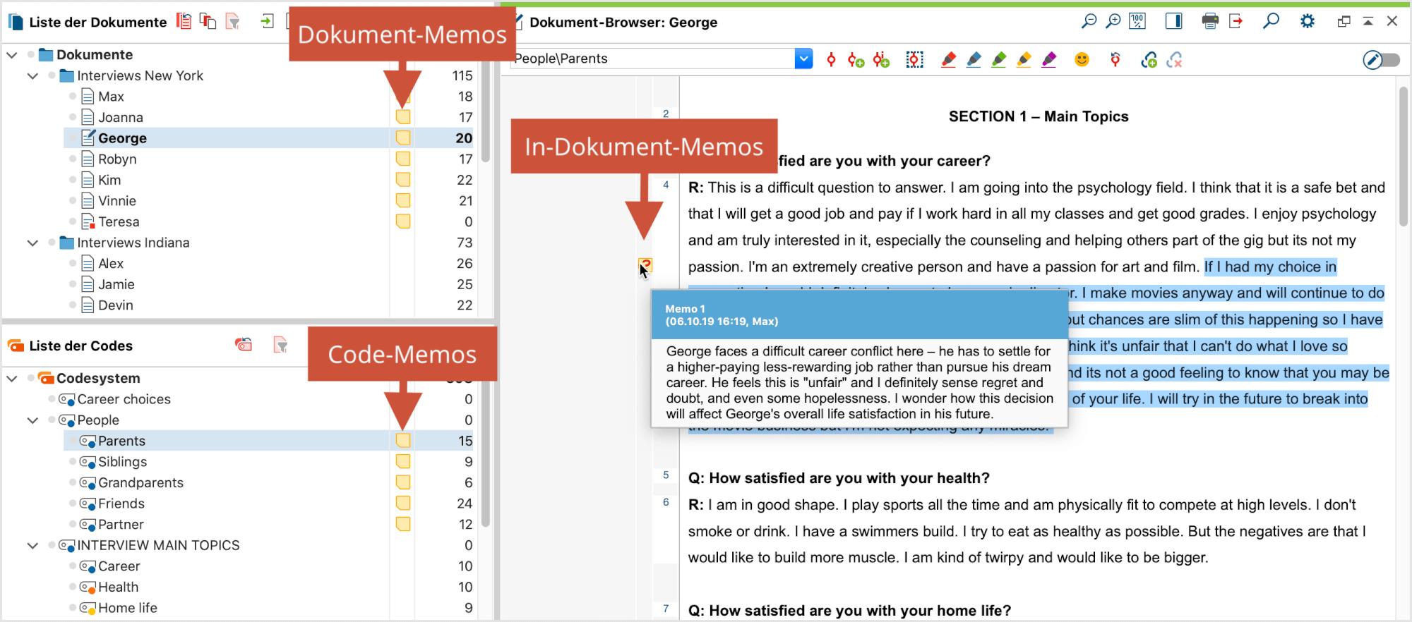Memos und Kommentare: Memo-Symbole auf der Oberfläche von MAXQDA