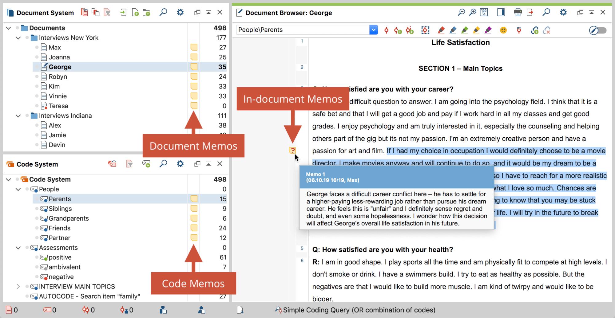 Memos in the MAXQDA interface