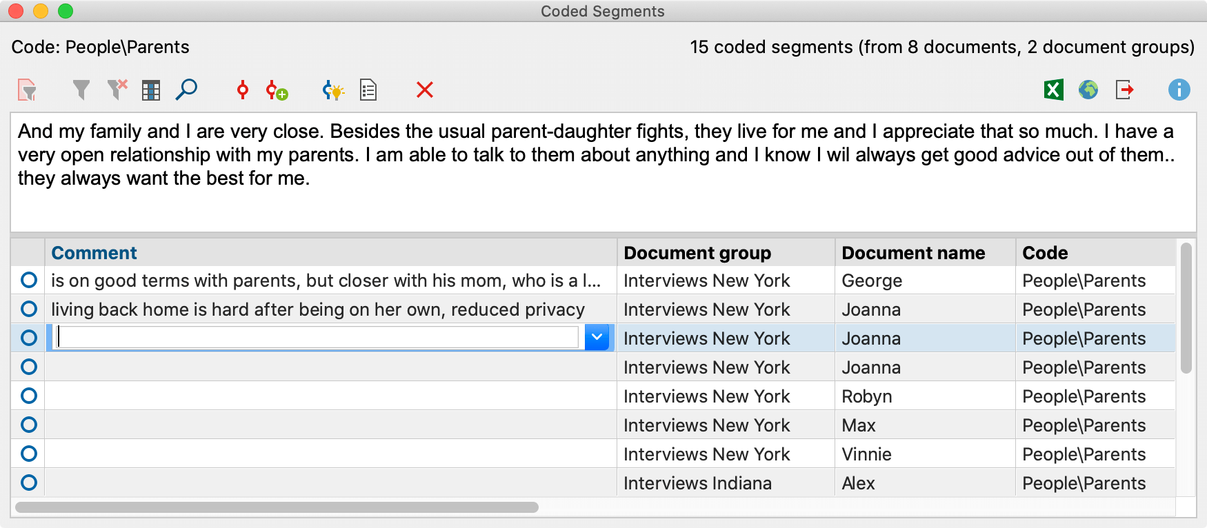 Creating comments for coded segments in the Overview of Coded Segments