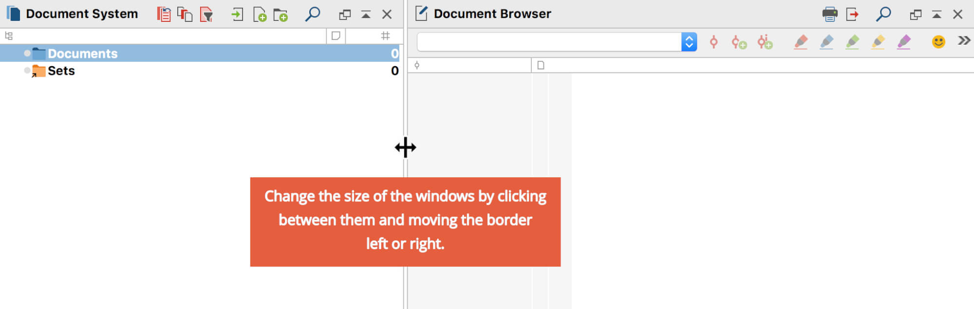 Window height and width can be adjusted by clicking and dragging borders with the mouse