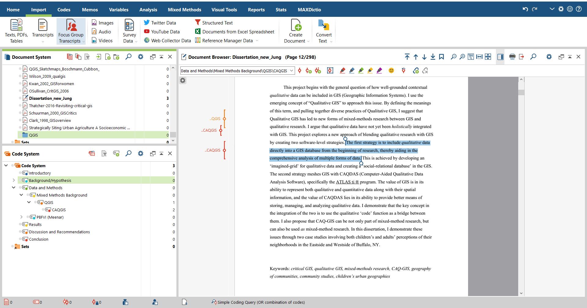 Writing Myself Out of the Quarantine Slump- Coded segments (CAQGIS/QGIS) displayed in MAXQDA.