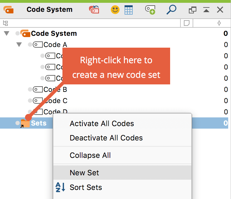 "Create a new code set in the ""Code System"""