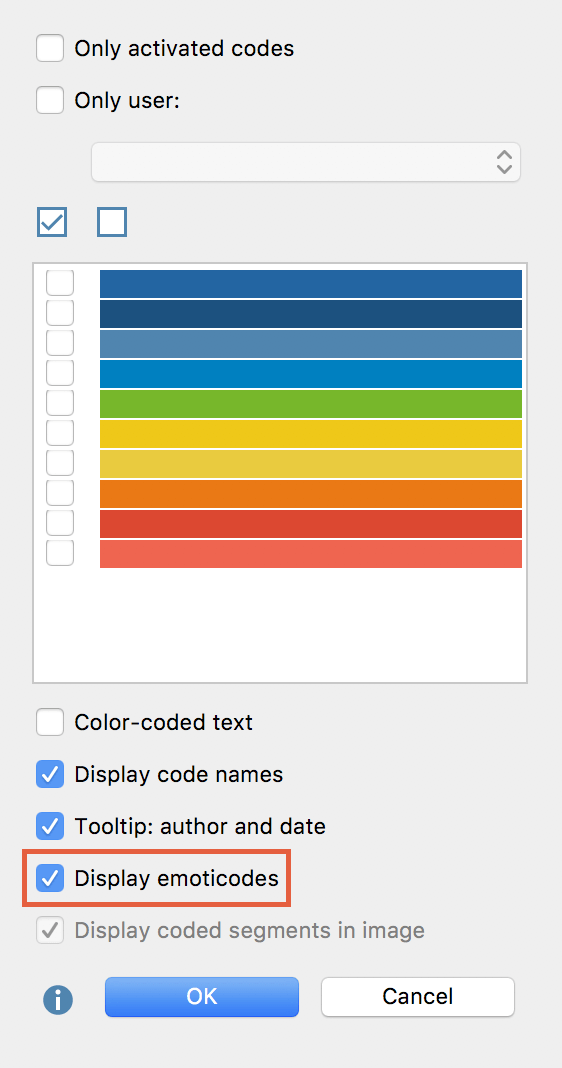 """Select """"Display emoticodes"""" to emoticodes on the coding stripe"""