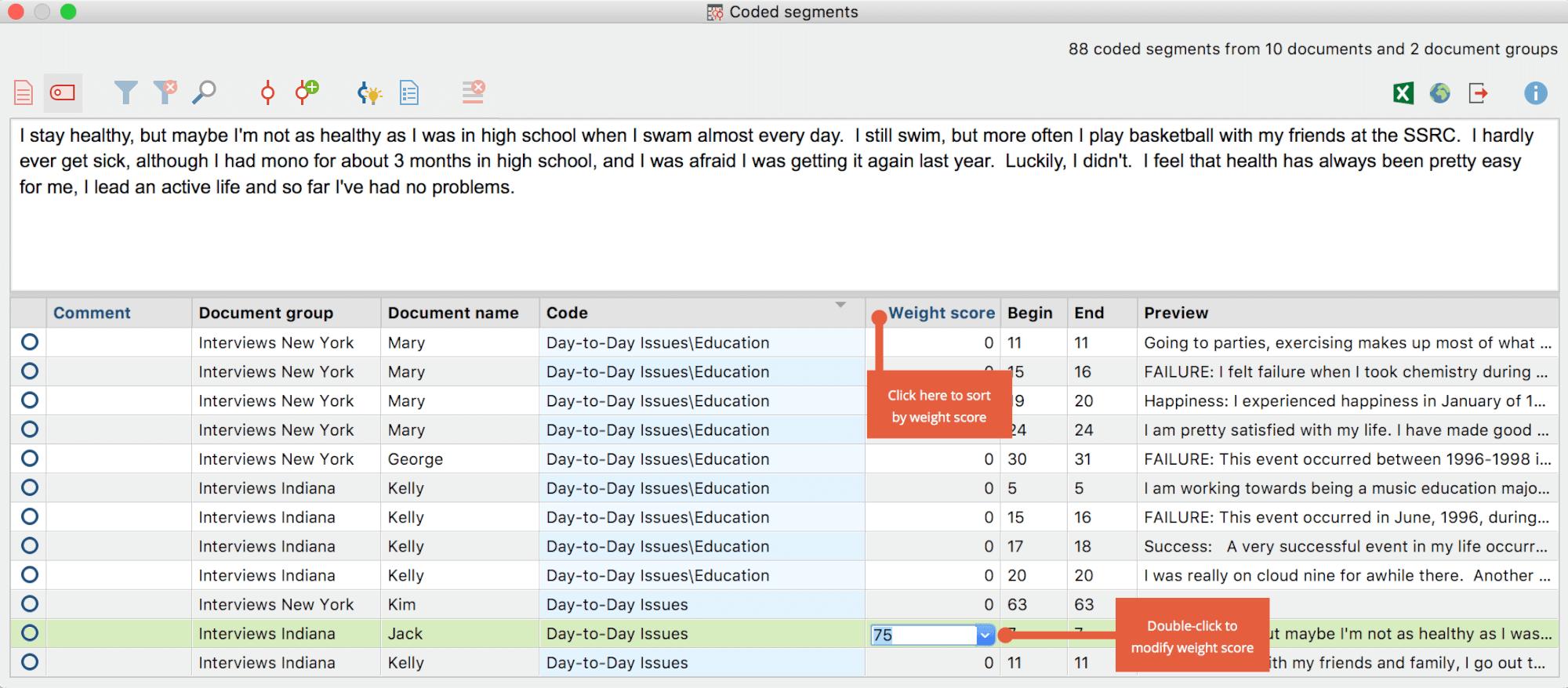 Code Weight Scores - MAXQDA - The Art of Data Analysis