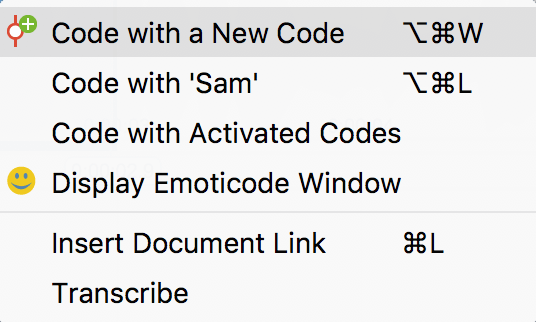 Context menu on a marked clip
