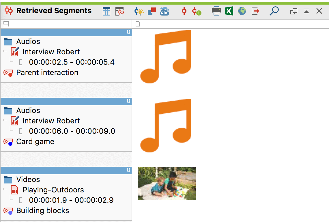 "Audio and video clips in the ""Retrieved Segments window"""