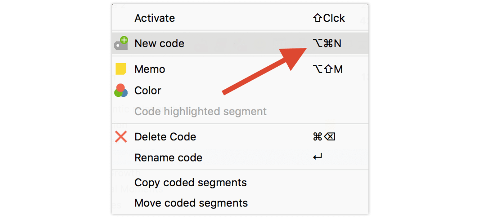 Shortcuts in the MAXQDA Context Menu